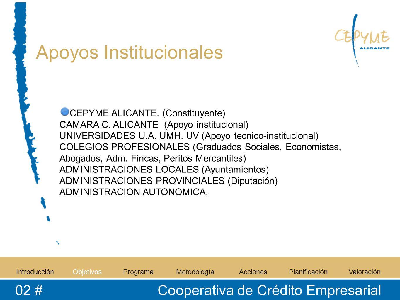 Apoyos Institucionales CEPYME ALICANTE. (Constituyente) CAMARA C. ALICANTE (Apoyo institucional) UNIVERSIDADES U.A. UMH. UV (Apoyo tecnico-institucion