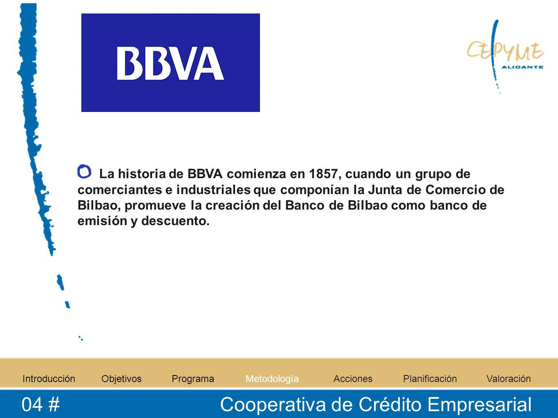 La historia de BBVA comienza en 1857, cuando un grupo de comerciantes e industriales que componían la Junta de Comercio de Bilbao, promueve la creación del Banco de Bilbao como banco de emisión y descuento.