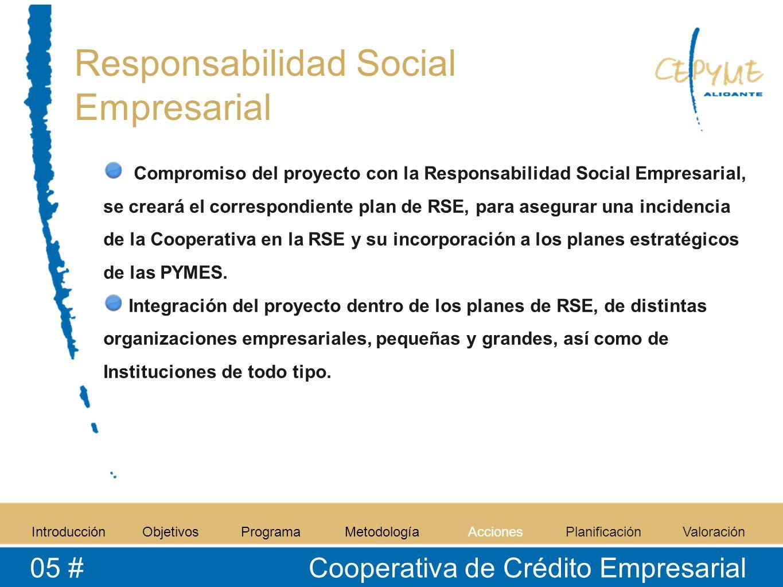 Responsabilidad Social Empresarial Compromiso del proyecto con la Responsabilidad Social Empresarial, se creará el correspondiente plan de RSE, para asegurar una incidencia de la Cooperativa en la RSE y su incorporación a los planes estratégicos de las PYMES.