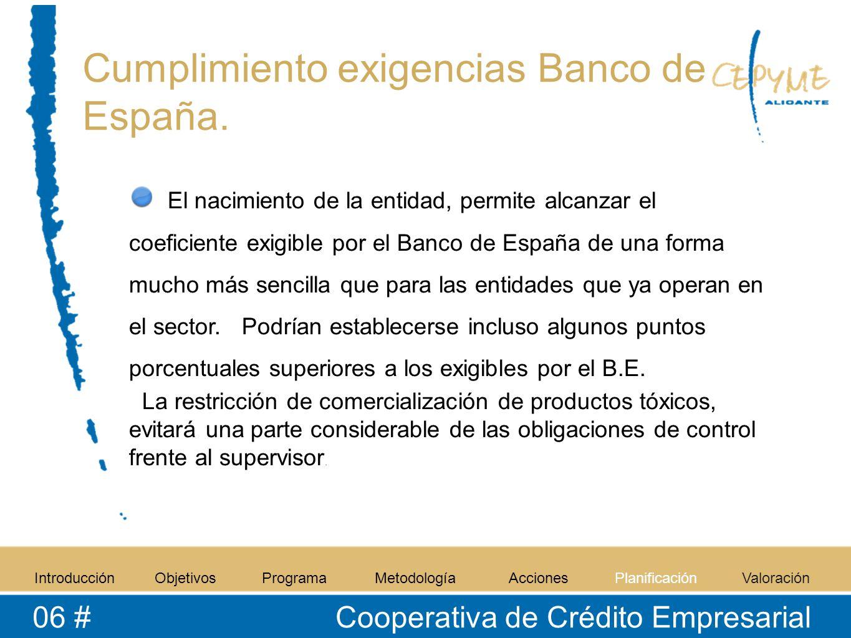 Cumplimiento exigencias Banco de España. IntroducciónObjetivosProgramaMetodologíaAccionesPlanificaciónValoración 06 # Cooperativa de Crédito Empresari