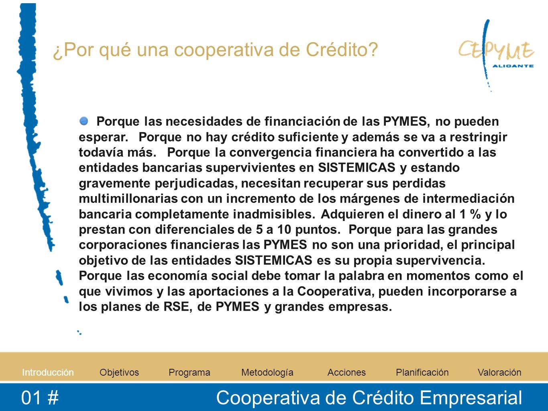 IntroducciónObjetivosProgramaMetodologíaAccionesPlanificaciónValoración 01 # Cooperativa de Crédito Empresarial ¿Por qué una cooperativa de Crédito? P