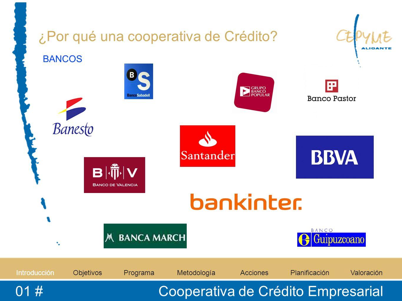 IntroducciónObjetivosProgramaMetodologíaAccionesPlanificaciónValoración 01 # Cooperativa de Crédito Empresarial ¿Por qué una cooperativa de Crédito.