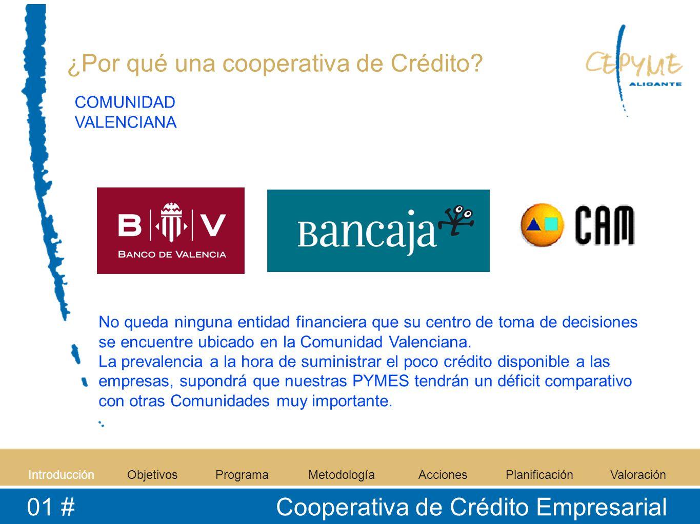 IntroducciónObjetivosProgramaMetodologíaAccionesPlanificaciónValoración 01 # Cooperativa de Crédito Empresarial ¿Por qué una cooperativa de Crédito? N