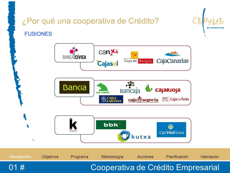 IntroducciónObjetivosProgramaMetodologíaAccionesPlanificaciónValoración 01 # Cooperativa de Crédito Empresarial ¿Por qué una cooperativa de Crédito? F