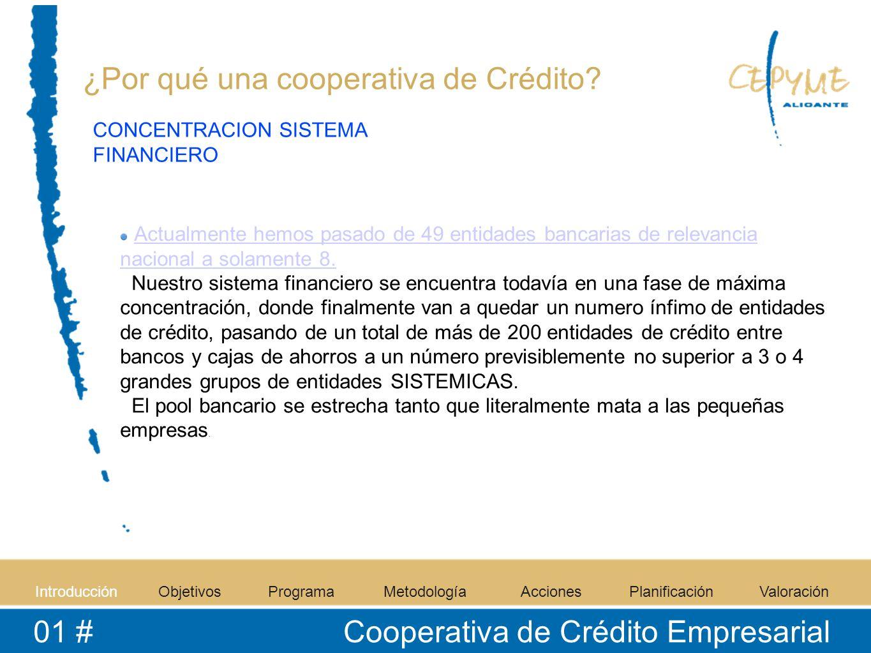 IntroducciónObjetivosProgramaMetodologíaAccionesPlanificaciónValoración 01 # Cooperativa de Crédito Empresarial ¿Por qué una cooperativa de Crédito? A