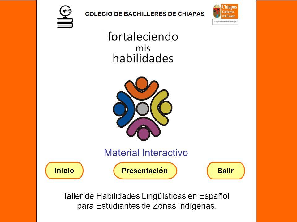 Material Interactivo Taller de Habilidades Lingüísticas en Español para Estudiantes de Zonas Indígenas. SalirPresentación Inicio