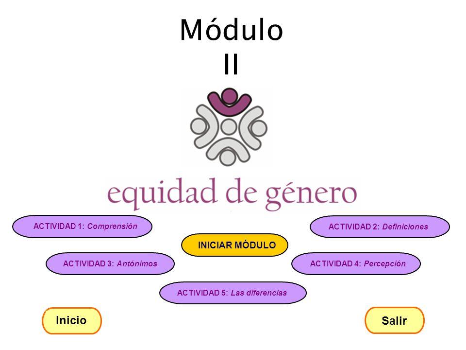 Módulo II ACTIVIDAD 1: Comprensión ACTIVIDAD 2: Definiciones ACTIVIDAD 3: Antónimos ACTIVIDAD 4: Percepción ACTIVIDAD 5: Las diferencias INICIAR MÓDUL