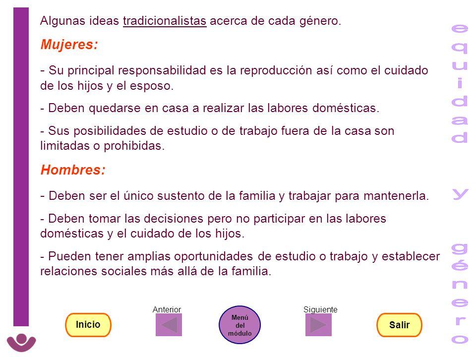 Algunas ideas tradicionalistas acerca de cada género. Mujeres: - Su principal responsabilidad es la reproducción así como el cuidado de los hijos y el