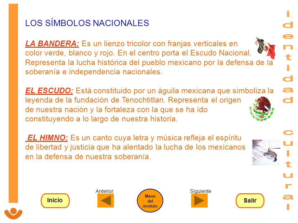 LOS SÍMBOLOS NACIONALES LA BANDERA: Es un lienzo tricolor con franjas verticales en color verde, blanco y rojo. En el centro porta el Escudo Nacional.