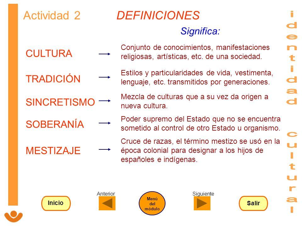 SOBERANÍA TRADICIÓN CULTURA SINCRETISMO MESTIZAJE Actividad 2 DEFINICIONES Estilos y particularidades de vida, vestimenta, lenguaje, etc. transmitidos