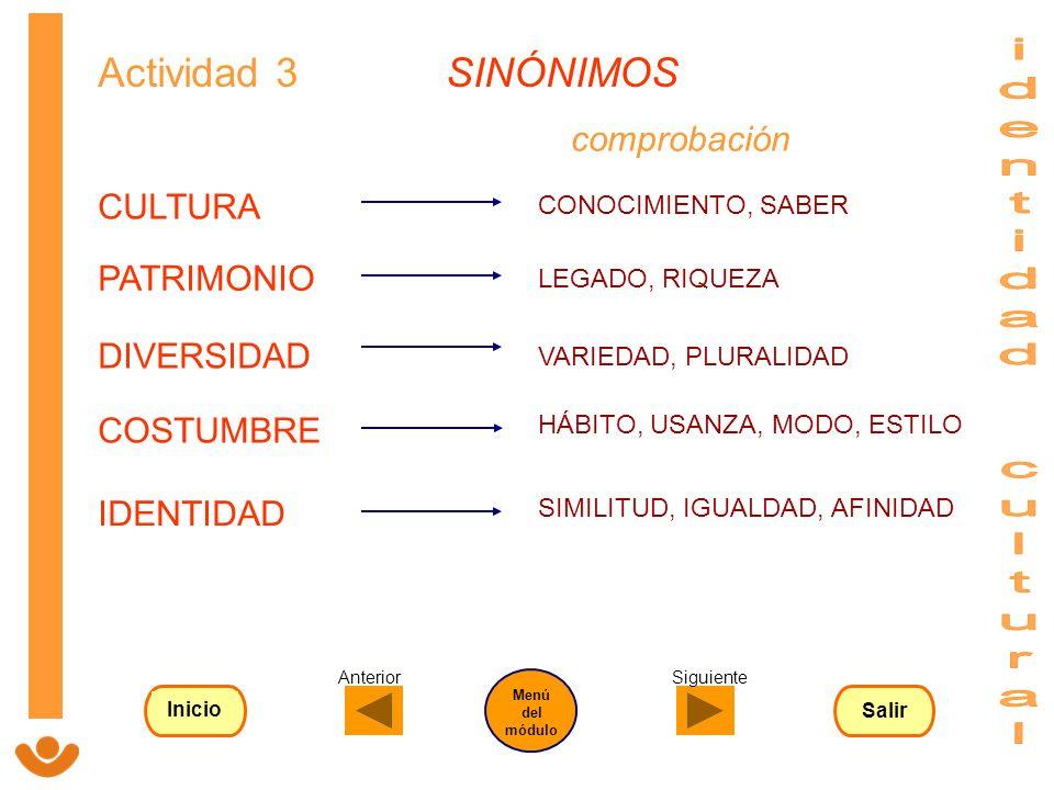 Actividad 3 SINÓNIMOS CONOCIMIENTO, SABER LEGADO, RIQUEZA VARIEDAD, PLURALIDAD HÁBITO, USANZA, MODO, ESTILO SIMILITUD, IGUALDAD, AFINIDAD comprobación