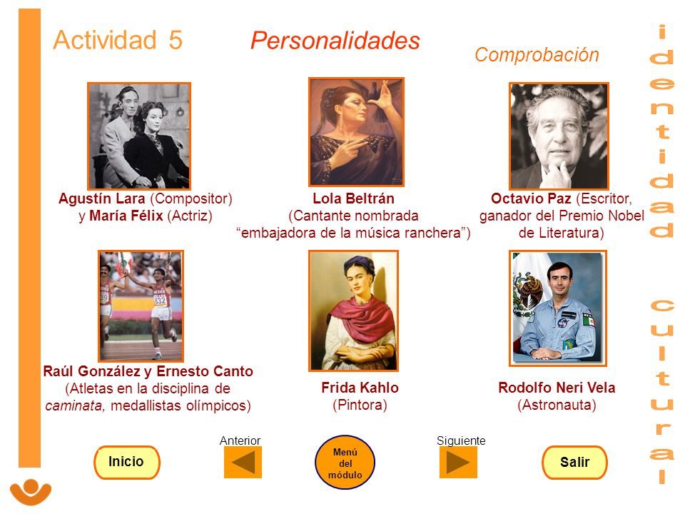 Actividad 5 Personalidades Comprobación Agustín Lara (Compositor) y María Félix (Actriz) Lola Beltrán (Cantante nombrada embajadora de la música ranch
