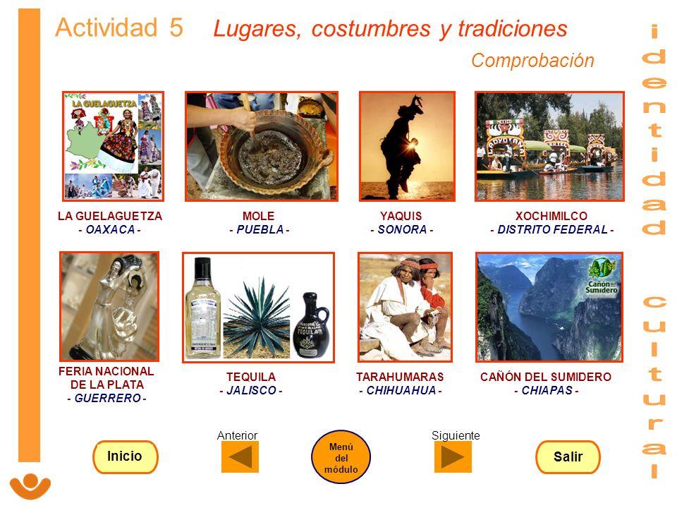 Actividad 5 Lugares, costumbres y tradiciones LA GUELAGUETZA - OAXACA - FERIA NACIONAL DE LA PLATA - GUERRERO - MOLE - PUEBLA - YAQUIS - SONORA - XOCH