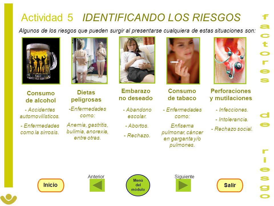 Algunos de los riesgos que pueden surgir al presentarse cualquiera de estas situaciones son: Actividad 5 IDENTIFICANDO LOS RIESGOS Consumo de alcohol