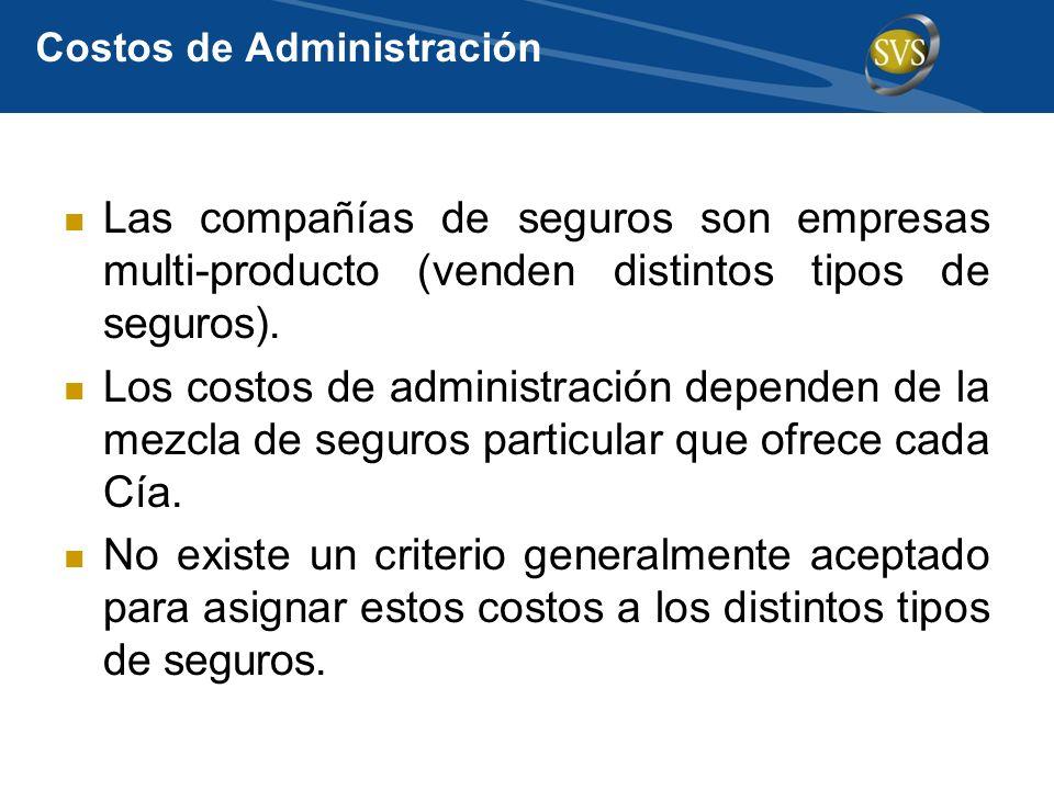 Costos de Administración Las compañías de seguros son empresas multi-producto (venden distintos tipos de seguros). Los costos de administración depend