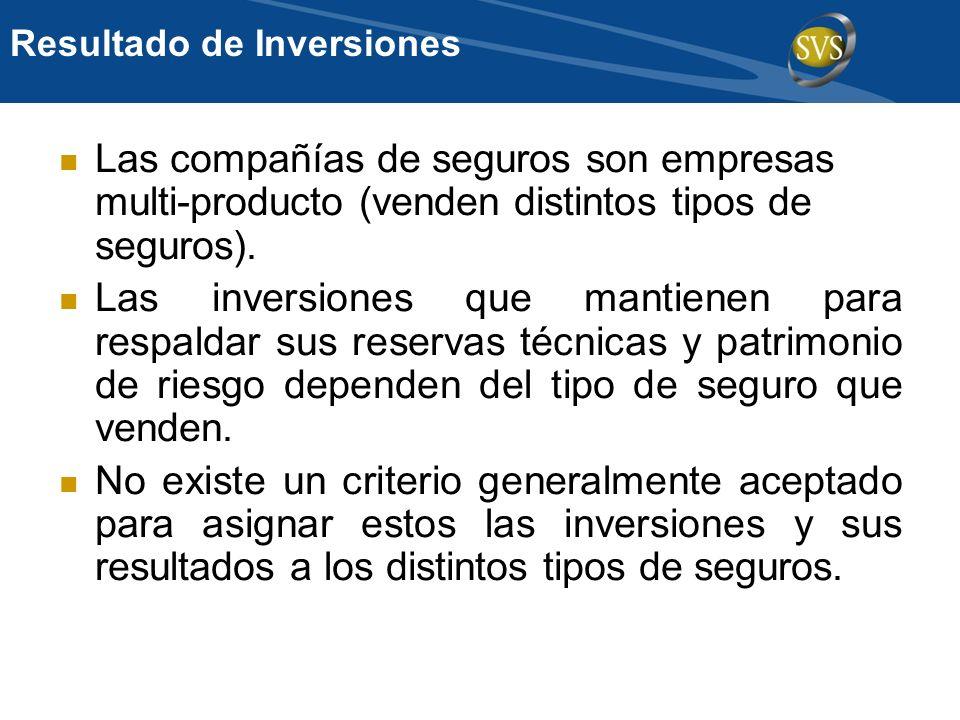 Resultado de Inversiones Las compañías de seguros son empresas multi-producto (venden distintos tipos de seguros). Las inversiones que mantienen para