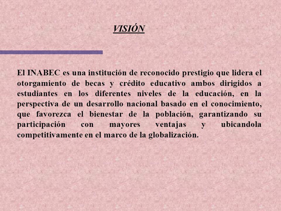 VISIÓN El INABEC es una institución de reconocido prestigio que lidera el otorgamiento de becas y crédito educativo ambos dirigidos a estudiantes en l
