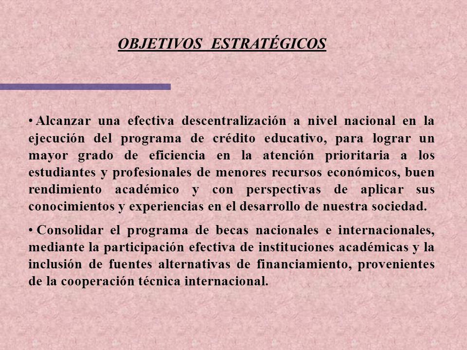 OBJETIVOS ESTRATÉGICOS Alcanzar una efectiva descentralización a nivel nacional en la ejecución del programa de crédito educativo, para lograr un mayo