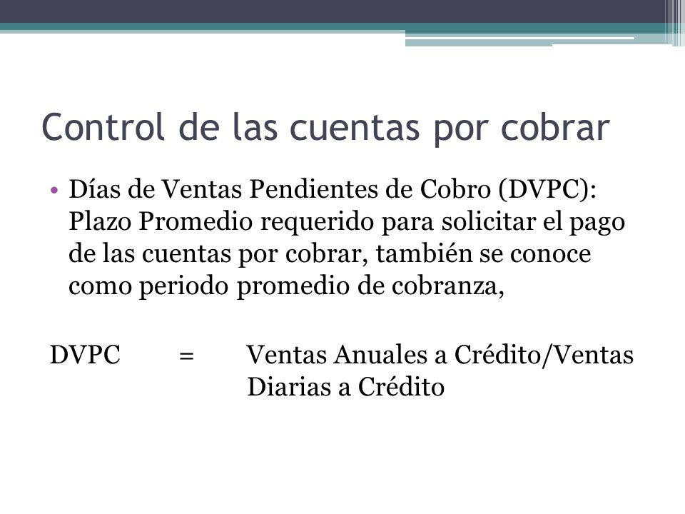 Control de las cuentas por cobrar Días de Ventas Pendientes de Cobro (DVPC): Plazo Promedio requerido para solicitar el pago de las cuentas por cobrar