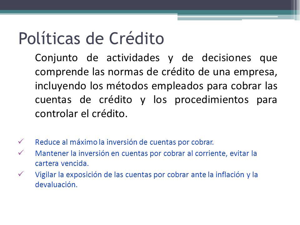 Políticas de Crédito Conjunto de actividades y de decisiones que comprende las normas de crédito de una empresa, incluyendo los métodos empleados para