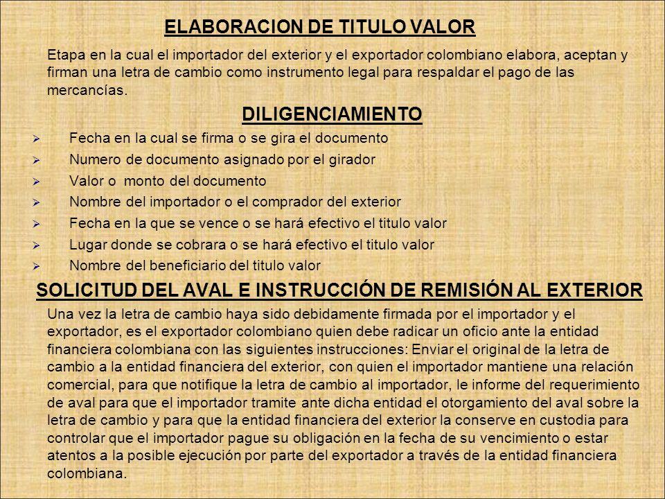 ELABORACION DE TITULO VALOR Etapa en la cual el importador del exterior y el exportador colombiano elabora, aceptan y firman una letra de cambio como