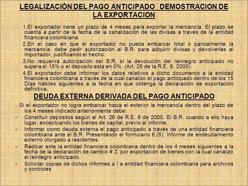 LEGALIZACIÓN DEL PAGO ANTICIPADO DEMOSTRACION DE LA EXPORTACION 1.El exportador tiene un plazo de 4 meses para exportar la mercancía. El plazo se cuen