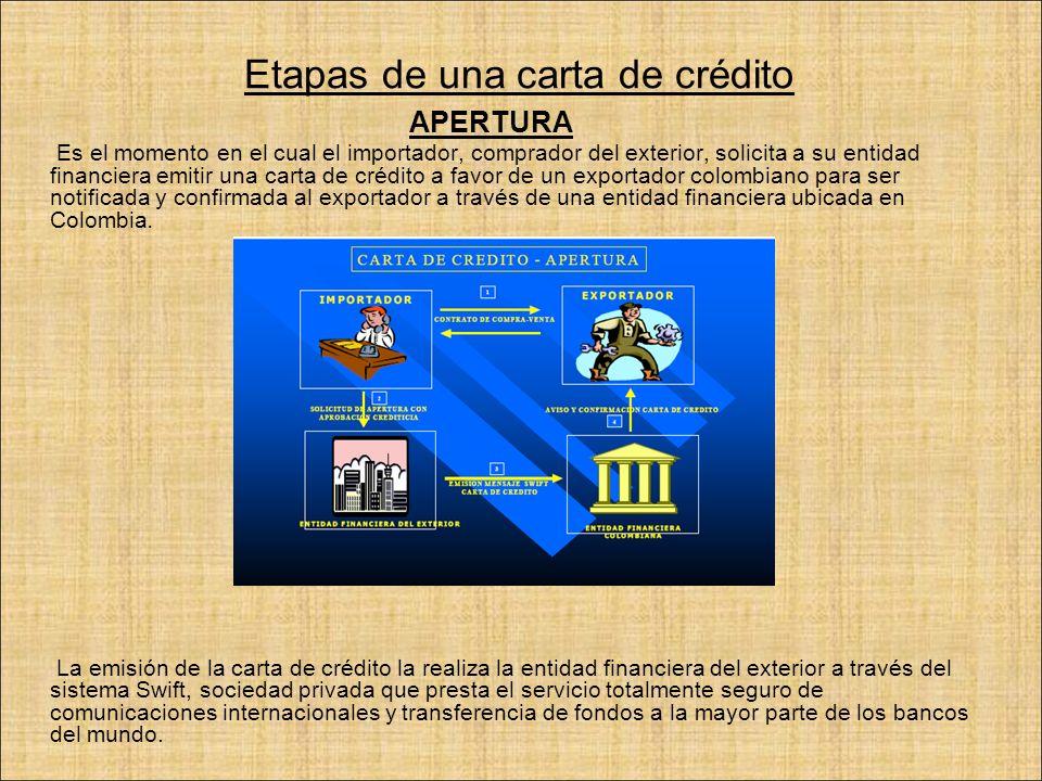 Etapas de una carta de crédito APERTURA Es el momento en el cual el importador, comprador del exterior, solicita a su entidad financiera emitir una ca