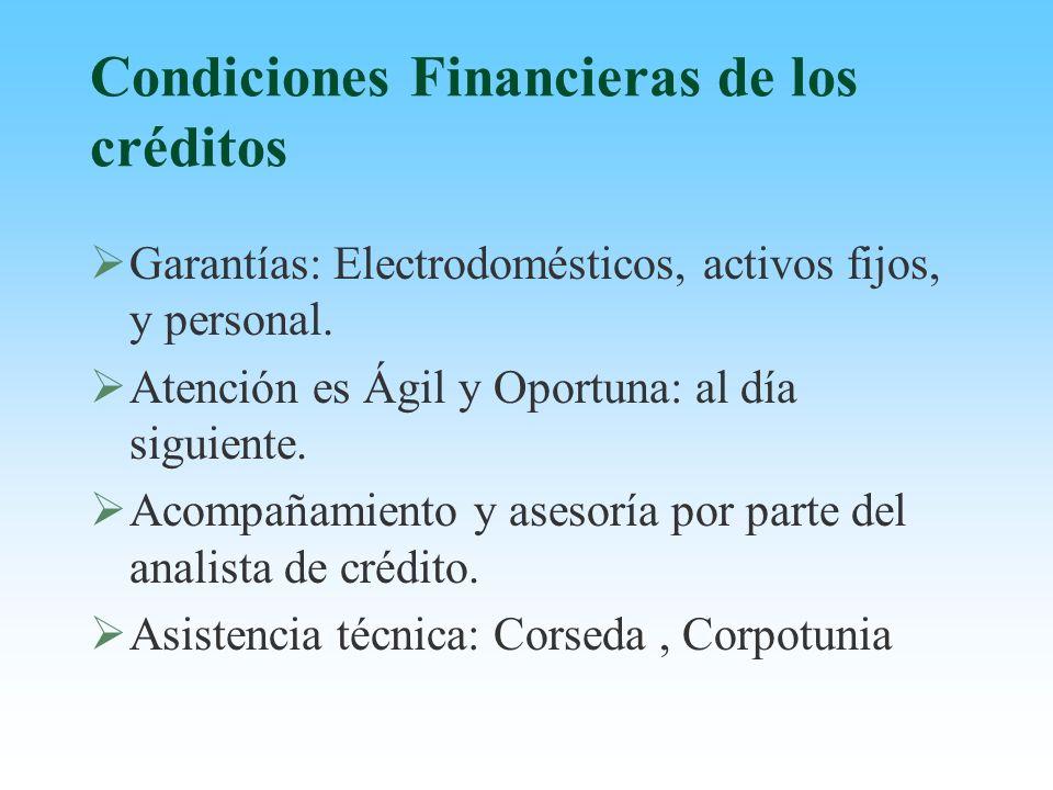 Condiciones Financieras de los créditos Garantías: Electrodomésticos, activos fijos, y personal. Atención es Ágil y Oportuna: al día siguiente. Acompa