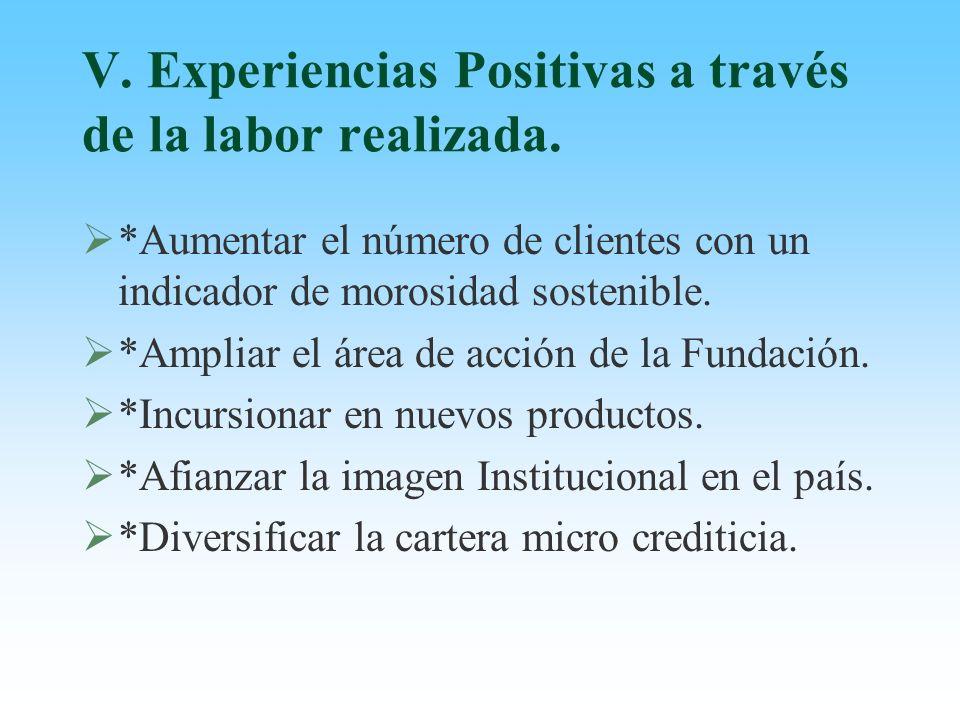 V. Experiencias Positivas a través de la labor realizada. *Aumentar el número de clientes con un indicador de morosidad sostenible. *Ampliar el área d