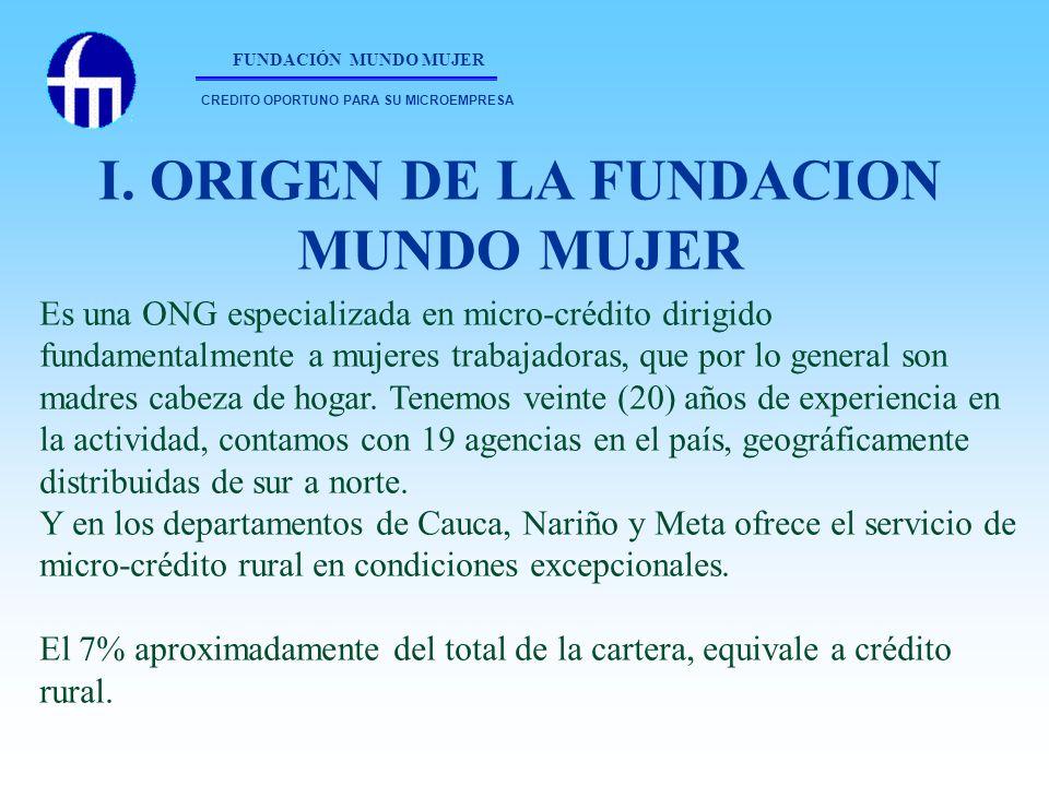 FUNDACIÓN MUNDO MUJER Es una ONG especializada en micro-crédito dirigido fundamentalmente a mujeres trabajadoras, que por lo general son madres cabeza