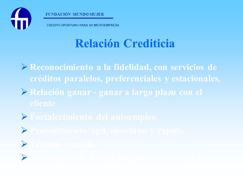 Relación Crediticia Reconocimiento a la fidelidad, con servicios de créditos paralelos, preferenciales y estacionales. Relación ganar - ganar a largo