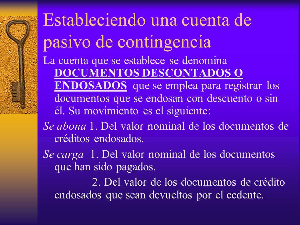 Estableciendo una cuenta de pasivo de contingencia La cuenta que se establece se denomina DOCUMENTOS DESCONTADOS O ENDOSADOS que se emplea para regist