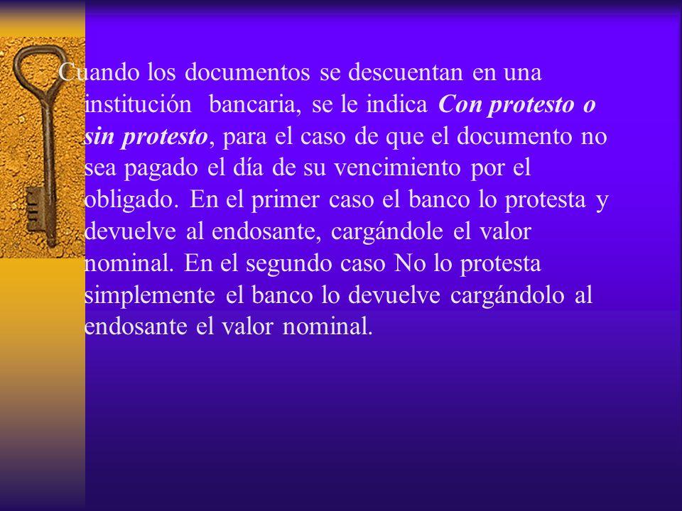 Cuando los documentos se descuentan en una institución bancaria, se le indica Con protesto o sin protesto, para el caso de que el documento no sea pag