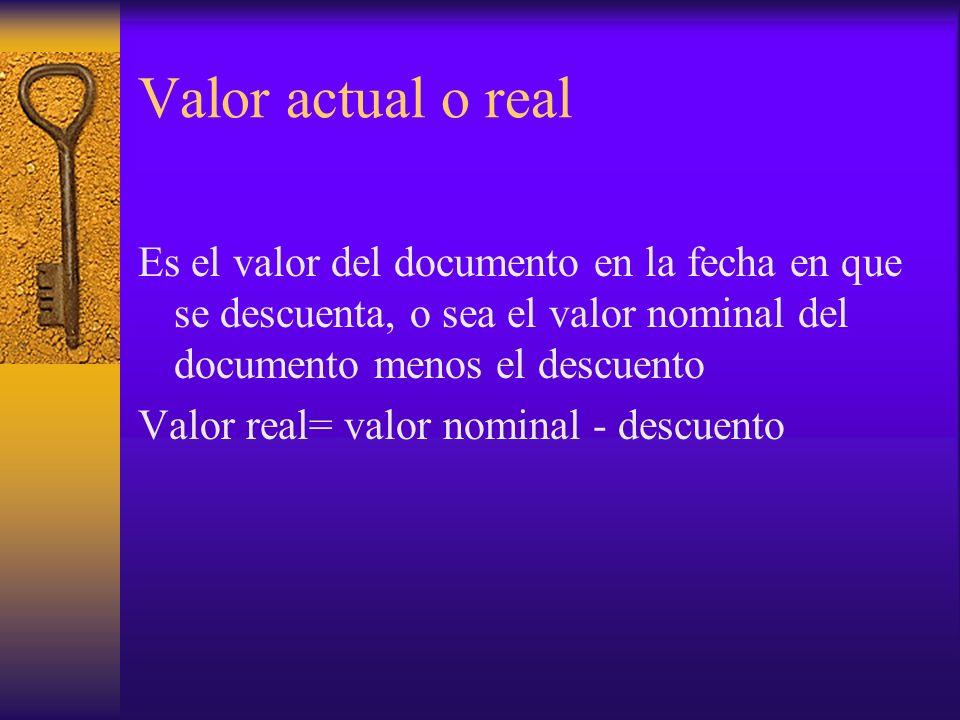 Valor actual o real Es el valor del documento en la fecha en que se descuenta, o sea el valor nominal del documento menos el descuento Valor real= val