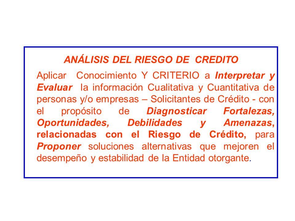 ANÁLISIS DEL RIESGO DE CREDITO Aplicar Conocimiento Y CRITERIO a Interpretar y Evaluar la información Cualitativa y Cuantitativa de personas y/o empre
