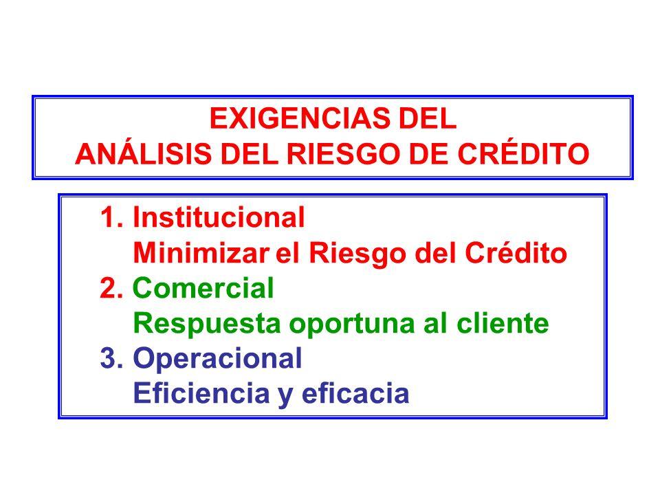 EXIGENCIAS DEL ANÁLISIS DEL RIESGO DE CRÉDITO 1.Institucional Minimizar el Riesgo del Crédito 2. Comercial Respuesta oportuna al cliente 3.Operacional