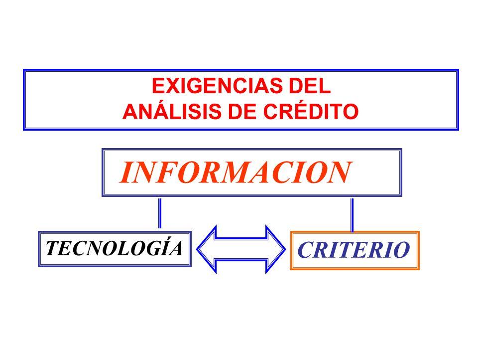 EXIGENCIAS DEL ANÁLISIS DE CRÉDITO TECNOLOGÍA INFORMACION CRITERIO