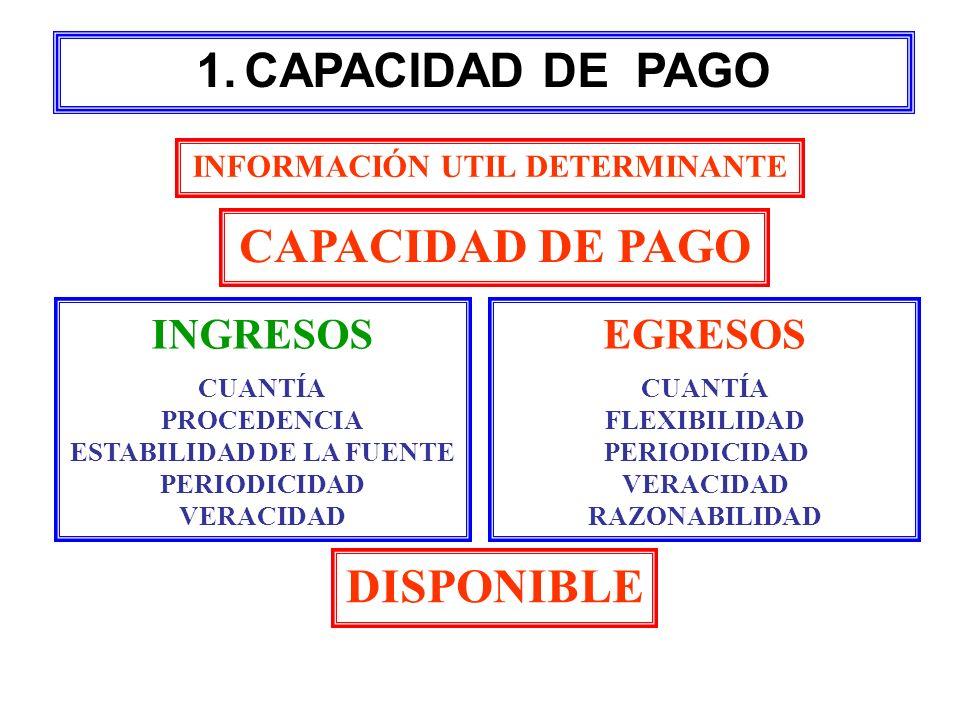 INFORMACIÓN UTIL DETERMINANTE CAPACIDAD DE PAGO INGRESOS CUANTÍA PROCEDENCIA ESTABILIDAD DE LA FUENTE PERIODICIDAD VERACIDAD EGRESOS CUANTÍA FLEXIBILI