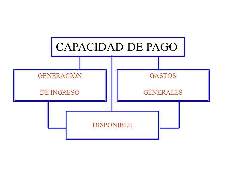GENERACIÓN DE INGRESO CAPACIDAD DE PAGO GASTOS GENERALES DISPONIBLE