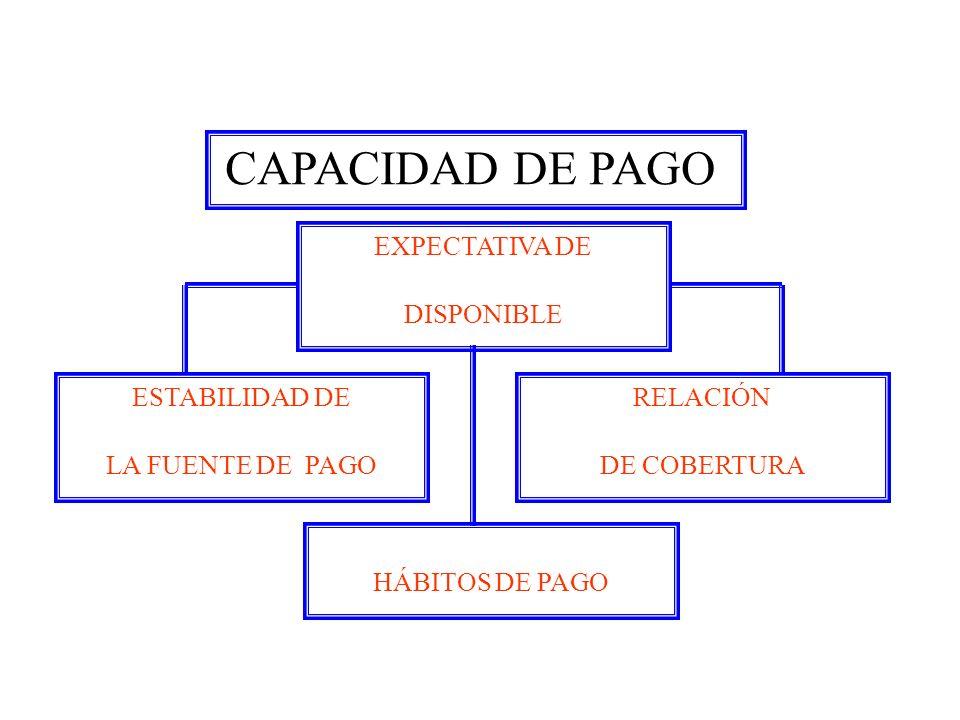 CAPACIDAD DE PAGO EXPECTATIVA DE DISPONIBLE ESTABILIDAD DE LA FUENTE DE PAGO RELACIÓN DE COBERTURA HÁBITOS DE PAGO