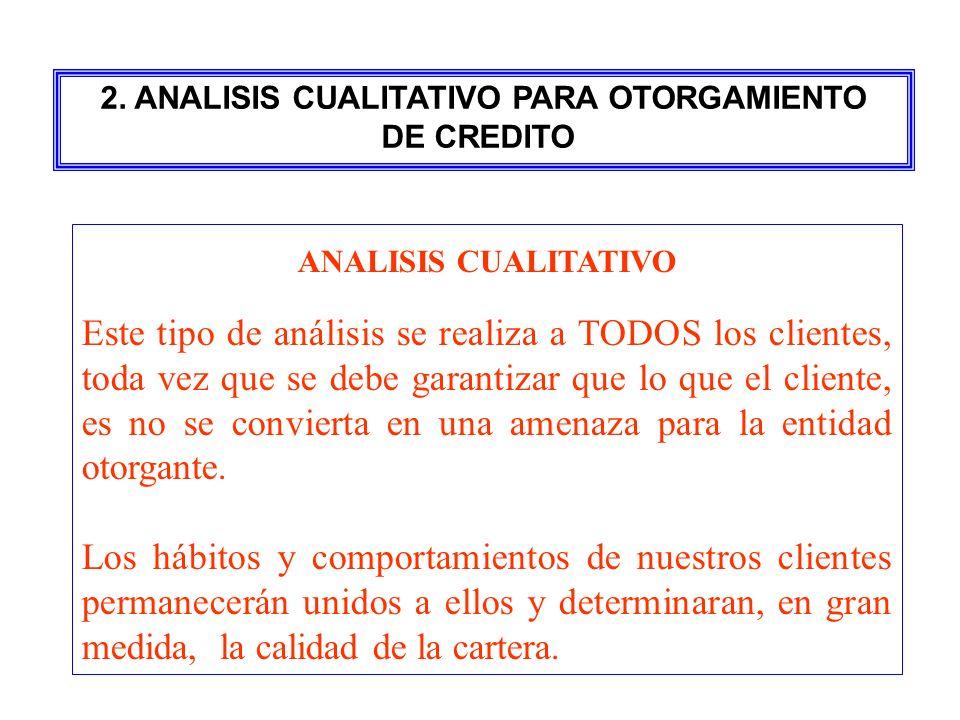 ANALISIS CUALITATIVO Este tipo de análisis se realiza a TODOS los clientes, toda vez que se debe garantizar que lo que el cliente, es no se convierta