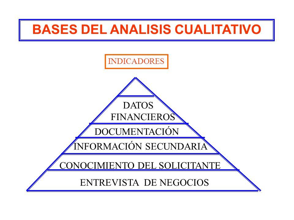BASES DEL ANALISIS CUALITATIVO DATOS FINANCIEROS DOCUMENTACIÓN INFORMACIÓN SECUNDARIA CONOCIMIENTO DEL SOLICITANTE ENTREVISTA DE NEGOCIOS INDICADORES
