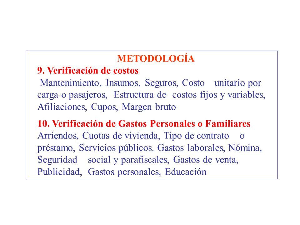 METODOLOGÍA 9. Verificación de costos Mantenimiento, Insumos, Seguros, Costo unitario por carga o pasajeros, Estructura de costos fijos y variables, A