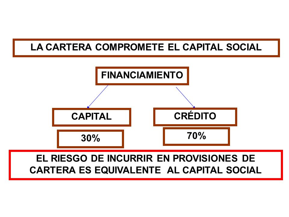 FINANCIAMIENTO CAPITAL CRÉDITO EL RIESGO DE INCURRIR EN PROVISIONES DE CARTERA ES EQUIVALENTE AL CAPITAL SOCIAL 70% 30% LA CARTERA COMPROMETE EL CAPIT