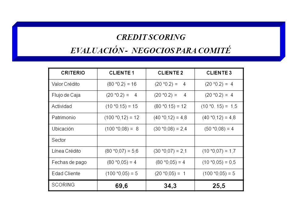 CREDIT SCORING EVALUACIÓN - NEGOCIOS PARA COMITÉ CRITERIOCLIENTE 1CLIENTE 2CLIENTE 3 Valor Crédito(80 *0.2) = 16(20 *0.2) = 4 Flujo de Caja(20 *0.2) =