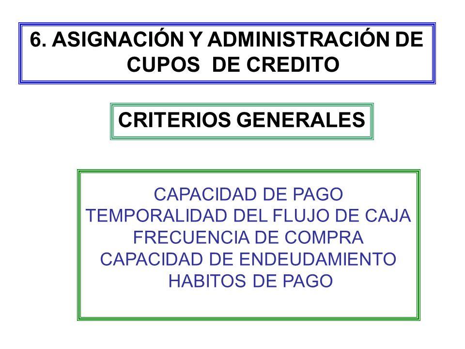 CRITERIOS GENERALES CAPACIDAD DE PAGO TEMPORALIDAD DEL FLUJO DE CAJA FRECUENCIA DE COMPRA CAPACIDAD DE ENDEUDAMIENTO HABITOS DE PAGO 6. ASIGNACIÓN Y A