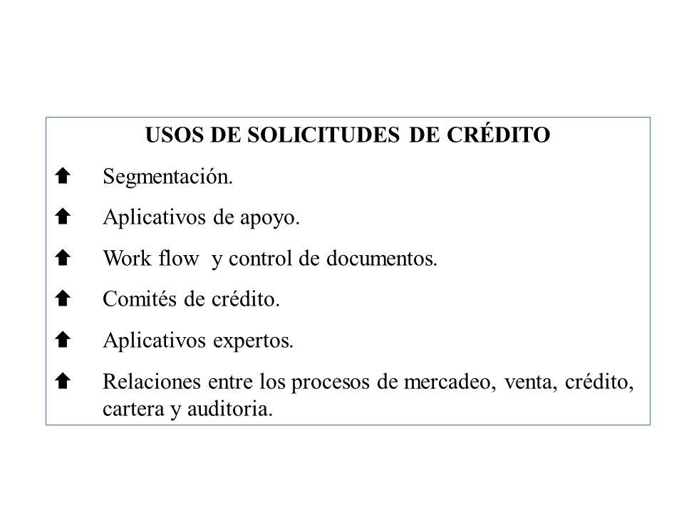 USOS DE SOLICITUDES DE CRÉDITO Segmentación. Aplicativos de apoyo. Work flow y control de documentos. Comités de crédito. Aplicativos expertos. Relaci