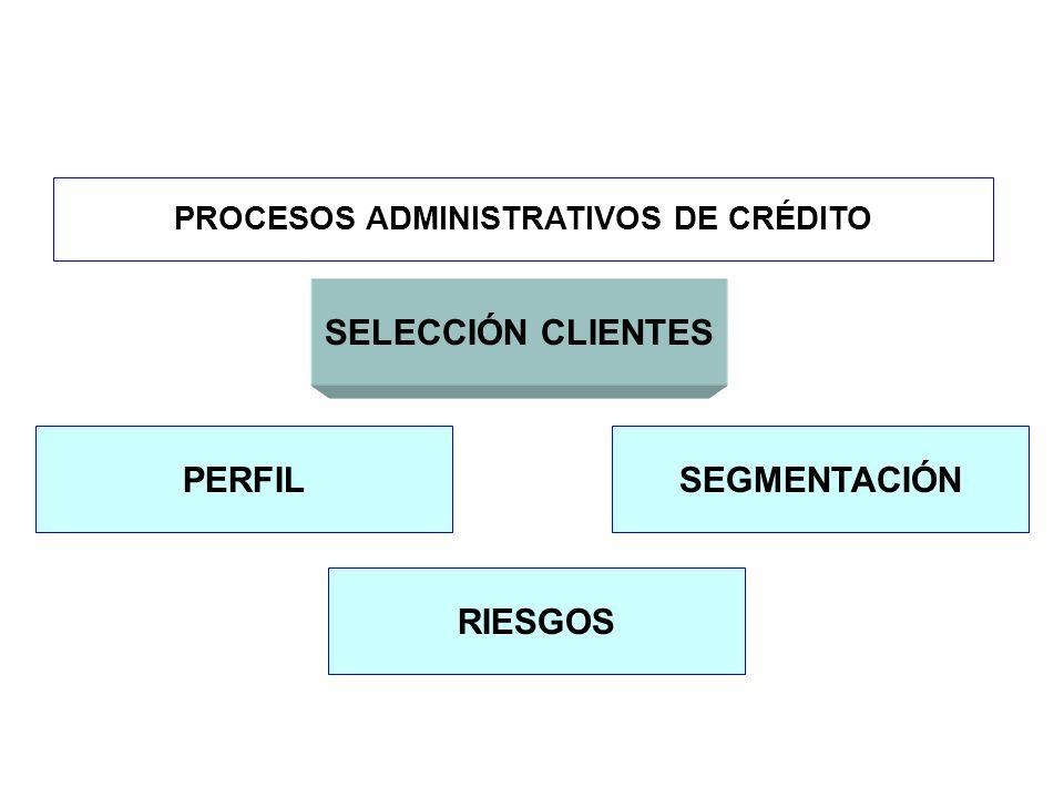 PROCESOS ADMINISTRATIVOS DE CRÉDITO SELECCIÓN CLIENTES PERFILSEGMENTACIÓN RIESGOS