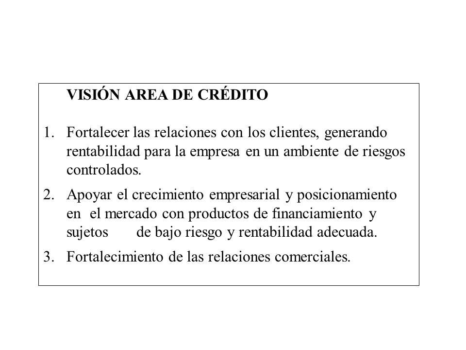 VISIÓN AREA DE CRÉDITO 1.Fortalecer las relaciones con los clientes, generando rentabilidad para la empresa en un ambiente de riesgos controlados. 2.A