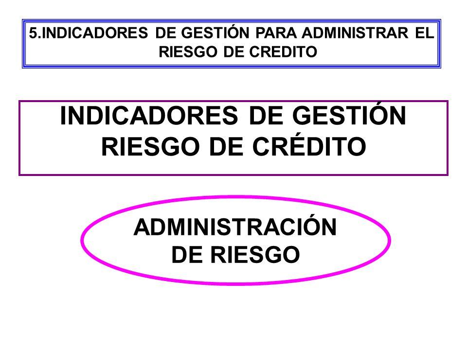 ADMINISTRACIÓN DE RIESGO INDICADORES DE GESTIÓN RIESGO DE CRÉDITO 5.INDICADORES DE GESTIÓN PARA ADMINISTRAR EL RIESGO DE CREDITO